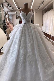 Vestido de novia Abalorio Organza largo Capa Multi Sala Natural