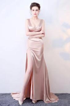 Vestido de fiesta Satén Baja escote en V Natural Espalda Descubierta