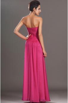 Vestido de fiesta Elegante cereza Sin mangas Hasta el suelo Gasa Sin tirantes