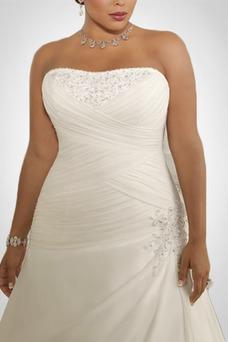 Vestido de novia Gasa Plisado Corte-A Cordón Sala Cintura Baja