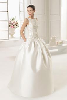 Vestido de novia Satén Cremallera Modesto Cola Panel Sin mangas Bolsillos