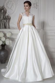 Vestido de novia Sala Otoño Natural Corte-A Cristal Manga corta