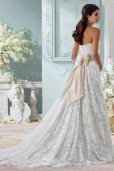 Vestido de novia largo Clasicos Fajas Corte-A Sin mangas Natural