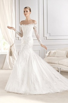 Vestido de novia Clasicos Corte Sirena Escote con Hombros caídos primavera