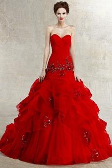 Vestido de novia Espectaculares Organza Invierno Corte-A largo Cristal