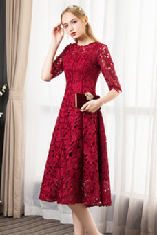 Vestido de noche Joya Capa de encaje Glamouroso Falta Natural Apliques