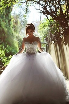 Vestido de novia Estrellado Corpiño Acentuado con Perla Sala Manga larga