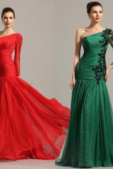 Vestido de noche Corte Sirena Asimétrico Estilo Apliques Cremallera