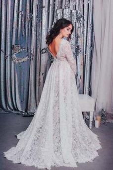Vestido de novia Embarazadas Encaje Otoño Manga larga Capa de encaje