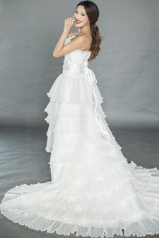 Vestido de novia Asimètrico Organza Drapeado Alto Bajo Sin mangas primavera