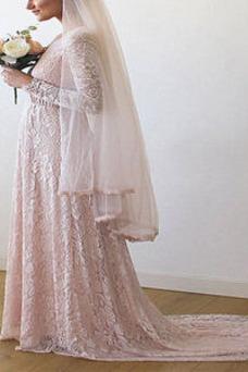 Vestido de novia Embarazadas Camiseta Cola Barriba Baja escote en V