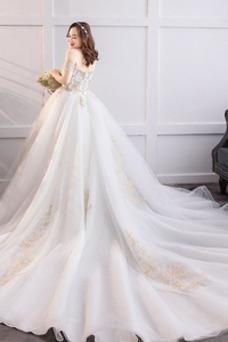 Vestido de novia Natural Sala Cordón Manga tapada Elegante Escote con Hombros caídos