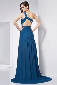 Vestido de fiesta Gasa Corte-A Natural Drapeado Sin mangas Un sólo hombro