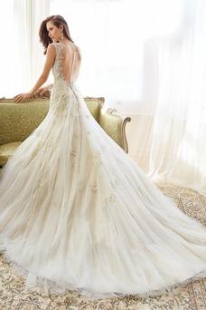 Vestido de novia Moderno Sin cintura Manga tapada Triángulo Invertido