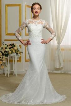 Vestido de novia Invierno Sin mangas Pura espalda Natural Capa de encaje