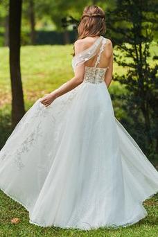 Vestido de novia Romántico Encaje Corte-A Sin mangas primavera Abalorio