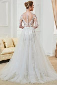 Vestido de novia Verano Drapeado Falta Mangas Illusion largo Natural