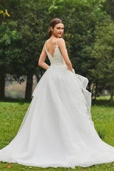 Vestido de novia Escote de Tirantes Espaguetis Natural tul Cola Capilla