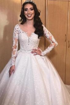 Vestido de novia Manga larga Escote en V Cremallera Botón Baja escote en V