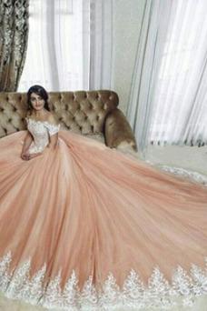 Vestido de novia Encaje Corte-A primavera Escote con Hombros caídos
