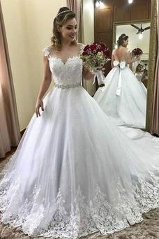 Vestido de novia Cola Barriba Capa de encaje Falta Escote con Hombros caídos