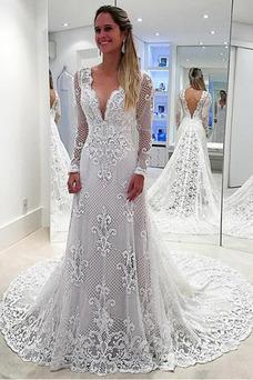 Vestido de novia Natural Otoño Corte-A Capa de encaje Apliques Escote en V