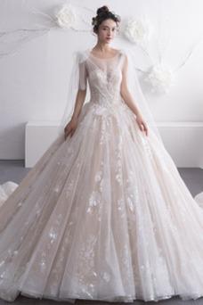 Vestido de novia Formal Sin mangas Corte-A Encaje Arco Acentuado Natural