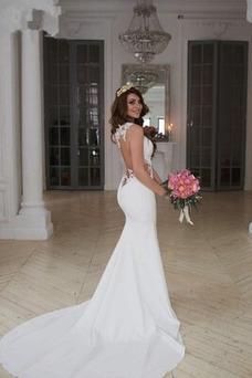 Vestido de novia Sin mangas Natural Apliques largo Satén Fuera de casa