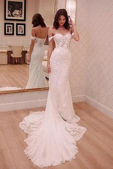Vestido de novia Romántico Natural Triángulo Invertido Escote con Hombros caídos
