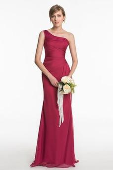 Vestido de dama de honor Un sólo hombro Elegante Plisado Corte Recto Gasa Natural