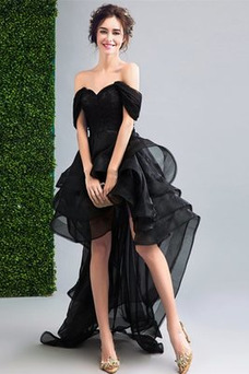 Vestido de cóctel Organza Escalonado Asimétrico Dobladillo Manga tapada