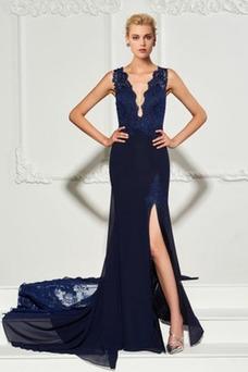 Vestido de noche Frontal Dividida Encaje Encaje Escote en V Natural
