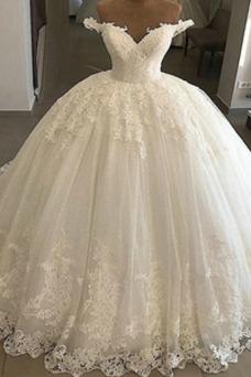 Vestido de novia Triángulo Invertido Baja escote en V Otoño Oscilación