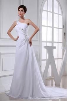 Vestido de novia Natural Fuera de casa Cordón Abalorio Un sólo hombro