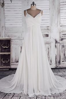 Vestido de novia Verano Manga de Obispo Imperio Cintura Cola Corte vendimia