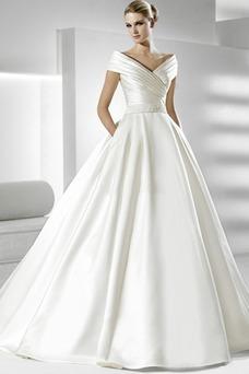 Vestido de novia Volantes Adorno Satén Iglesia Natural Tallas pequeñas