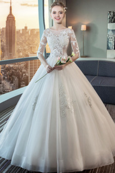 Vestido de novia Corte-A Capa de encaje Natural Cordón Sala Triángulo Invertido