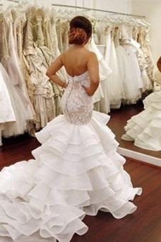 Vestido de novia Corte Sirena Otoño Natural Encaje Cremallera Escote Corazón