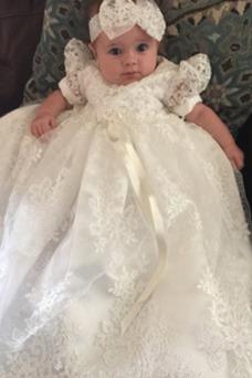 Vestido de Bautizo Flores largo Imperio Cintura Falta Encaje Formal