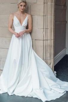 Vestido de novia Sin mangas Fuera de casa primavera Corte-A Natural