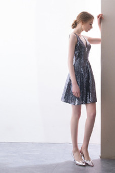 Vestido de cóctel Elegante Sin mangas Corte-A Corpiño Con lentejuelas