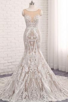 Vestido de novia Corte Sirena Capa de encaje Apliques vendimia Iglesia