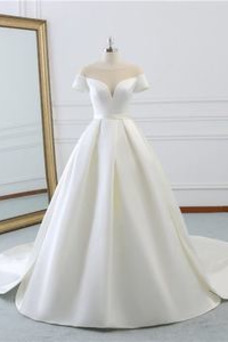 Vestido de novia Elegante Barco Otoño Satén Natural Cordón