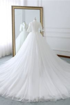 Vestido de novia Invierno Natural Corte-A Manga corta Satén Cola Corte