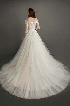 Vestido de novia Encaje Corte-A Escote con Hombros caídos Natural Triángulo Invertido
