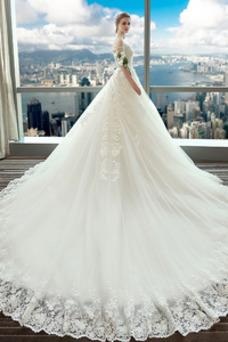 Vestido de novia Espectaculares Manga corta Corte-A Espalda Descubierta