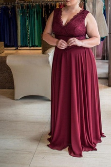 Vestido de fiesta Encaje Cremallera Elegante Gasa Escote en V Cola Barriba