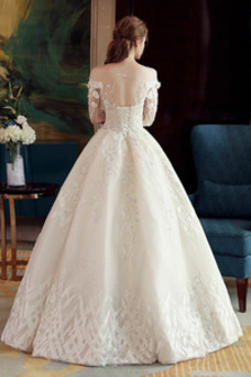 Vestido de novia Manga larga Clasicos Corpiño Acentuado con Perla Verano