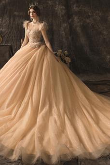 Vestido de novia Drapeado Natural Espalda con ojo de cerradura Manga corta
