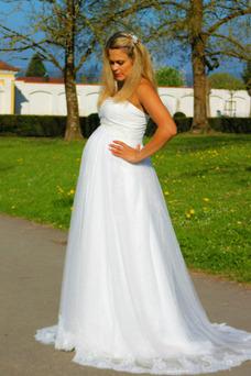 Vestido de novia Sin tirantes Embarazadas Imperio Imperio Cintura Sin mangas